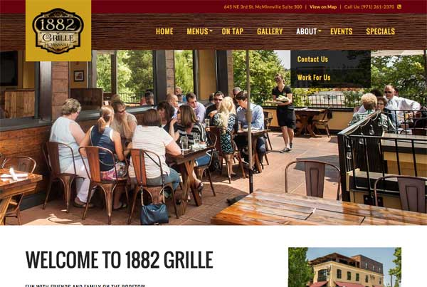 1882 Grille Restaurant Website