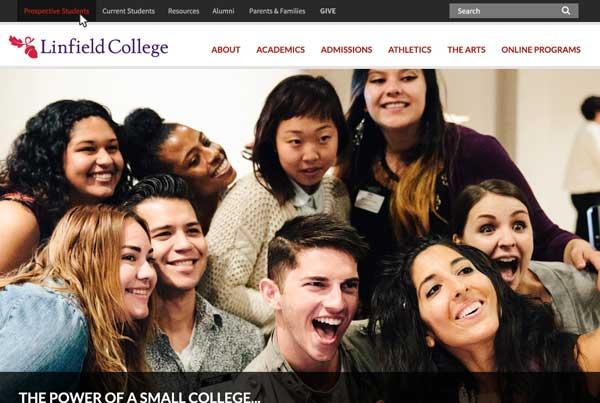 Linfield College Website Interface Design