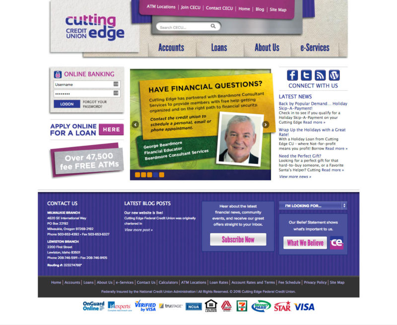 Cutting Edge Credit Union Website Home Page