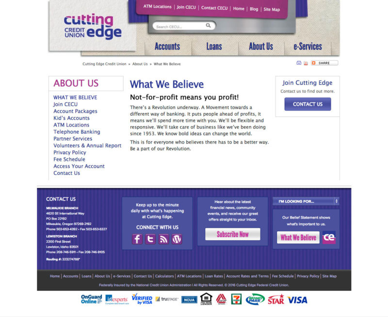 Cutting Edge Credit Union Website Secondary Page